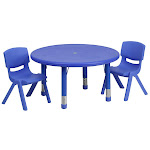 33RD Red Activity Table Set - YU-YCX-0073-2-ROUND-TBL-BLUE-R-GG