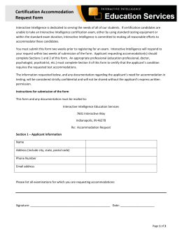 Sample Accommodation Request Letter
