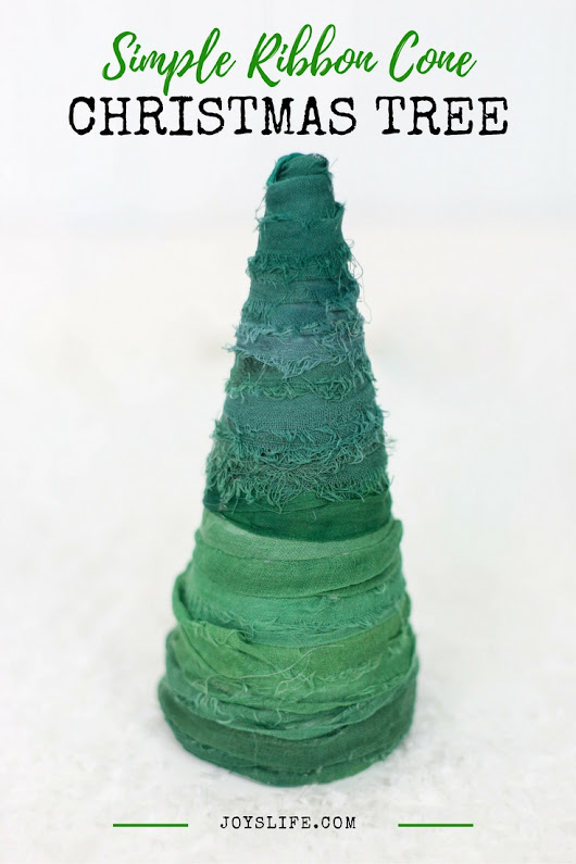Make an adorable & simple ribbon cone Christmas tree!