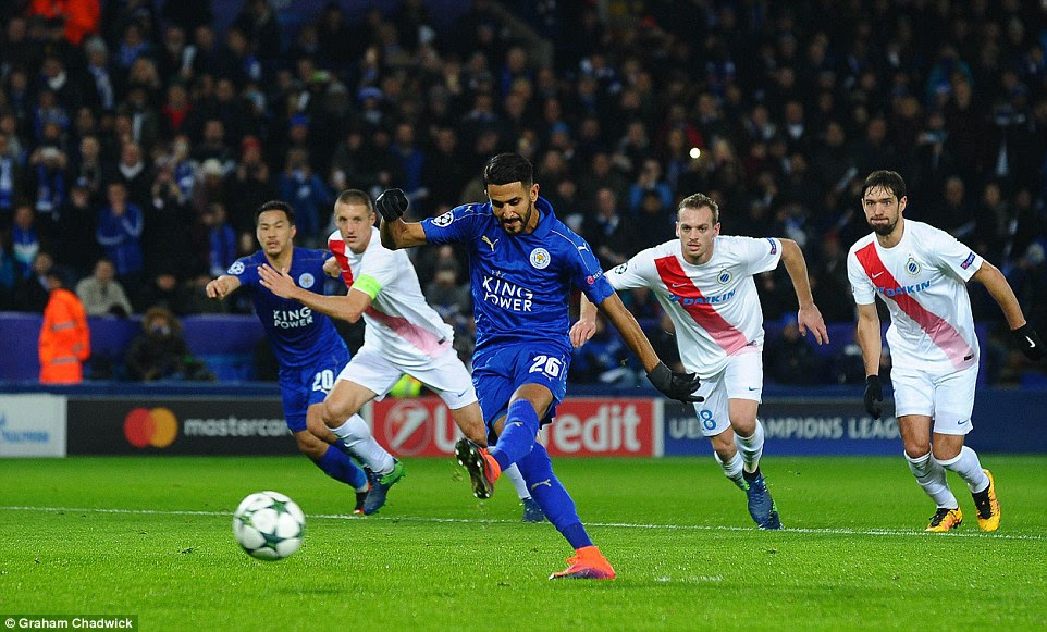 Riyad Mahrez plants his penalty kick straight down the middle and past keeper Ludovic Butelle in the Bruges goal