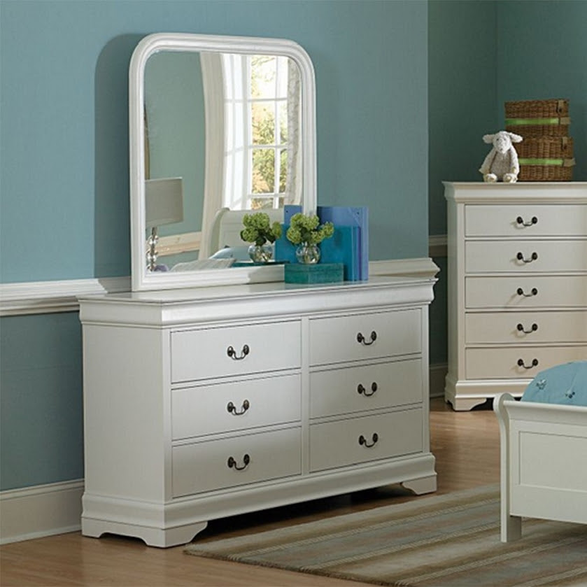 DreamFurniture.com - 539TW Marianne Dresser & Mirror White