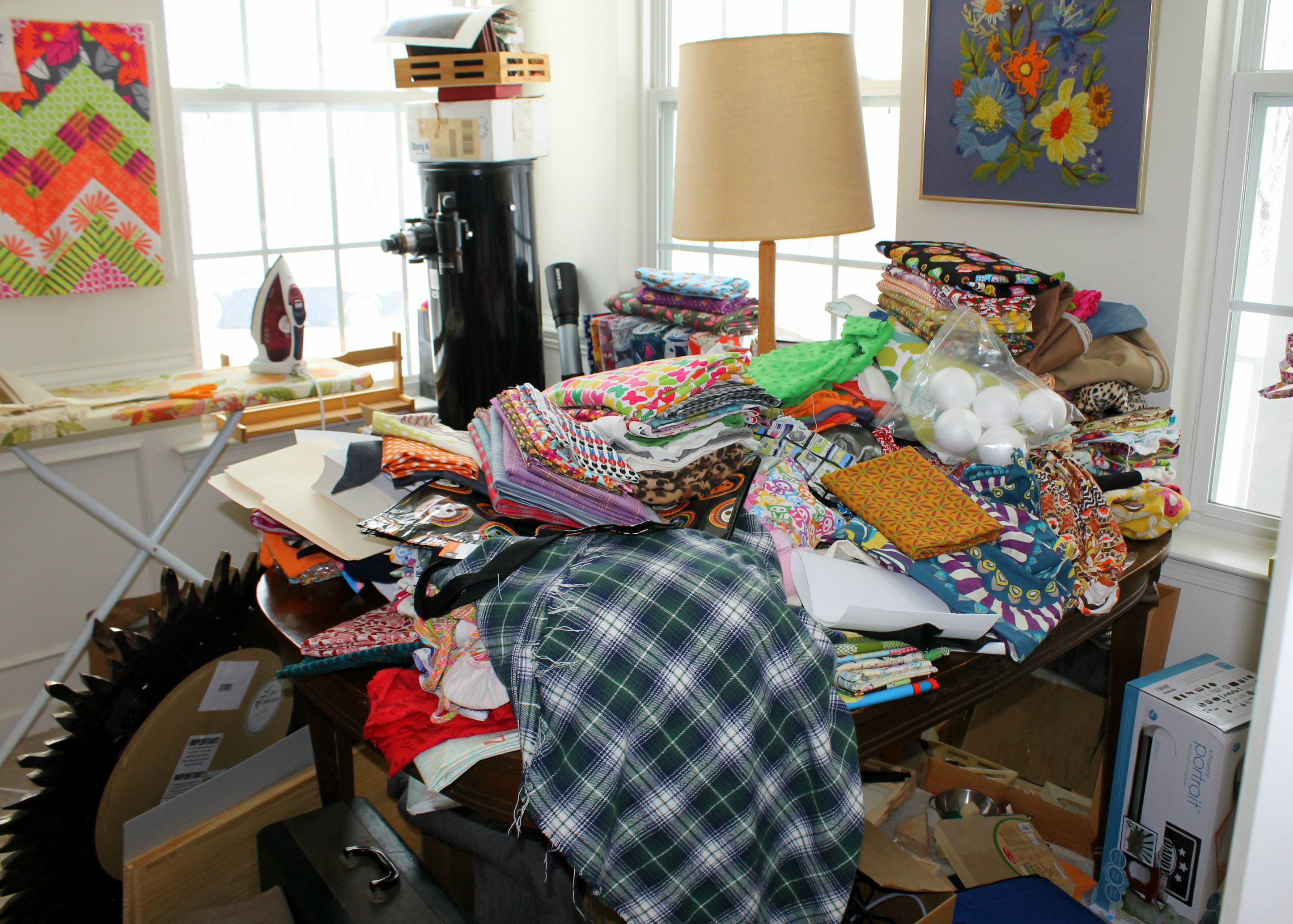 My sewing studio before packing