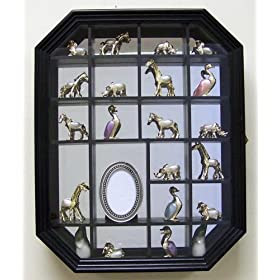 Living Room Furniture Curio Display Cabinet Case Black