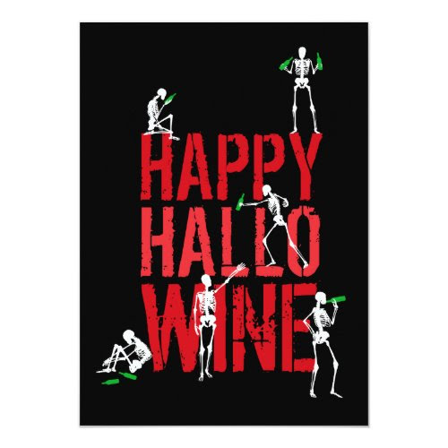 Happy Hallowine Skeleton Wine Party Postcard