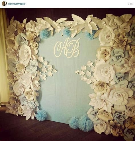 Paper flowers backdrop wedding   Paper backdrop