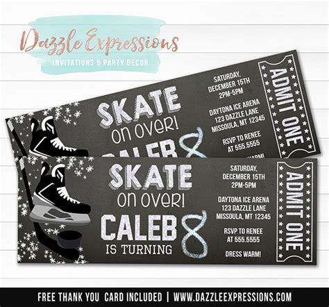 Printable Hockey Chalkboard Ticket Birthday Invitation