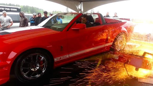 Shelby GT500 shreds a dyno into Canadian fireworks