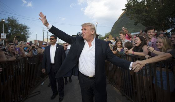 "FILE - In this Friday, Sept. 25, 2015, file photo, Republican presidential candidate Donald Trump greets supporters before he delivers his message during a campaign rally at the state fair in Oklahoma City. Israel's Prime Minister Benjamin Netanyahu on Wednesday, Dec. 9, 2015, rejected Trump's recent statements about Muslims, saying Israel ""respects all religions"" as he faced calls to call off an upcoming visit by the Republican front-runner. (AP Photo/J Pat Carter, File)"