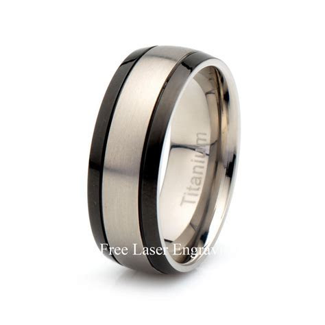 Mens Titanium Black Wedding Band Brushed Domed Titanium Ring