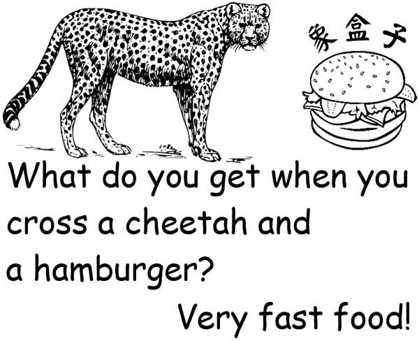 cheetah hamburger very fast food