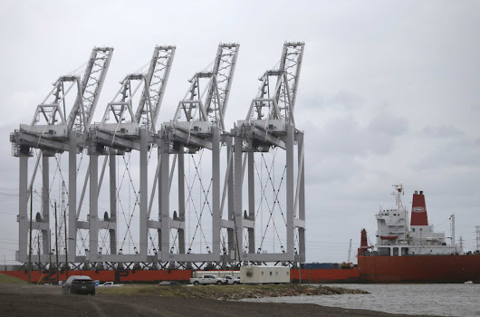 Giant shipping cranes from South Korea arrive at Houston port