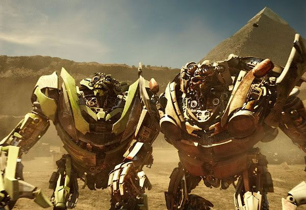 Skids and Mudflap confront Devastator (off-screen) in Egypt.