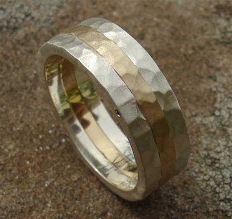 Men's Hammered Silver & Gold Wedding Ring : LOVE2HAVE in