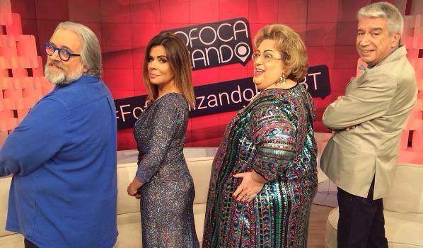 """Leão Lobo, Mara Maravilha, Mamma Bruschetta e Décio Piccinini no """"Fofocalizando"""" (Foto: Reprodução/SBT)"""