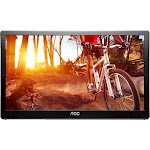 "AOC - 15.6"" Widescreen Flat-Panel USB 3.0-Powered Portable LED Monitor - Glossy piano black"