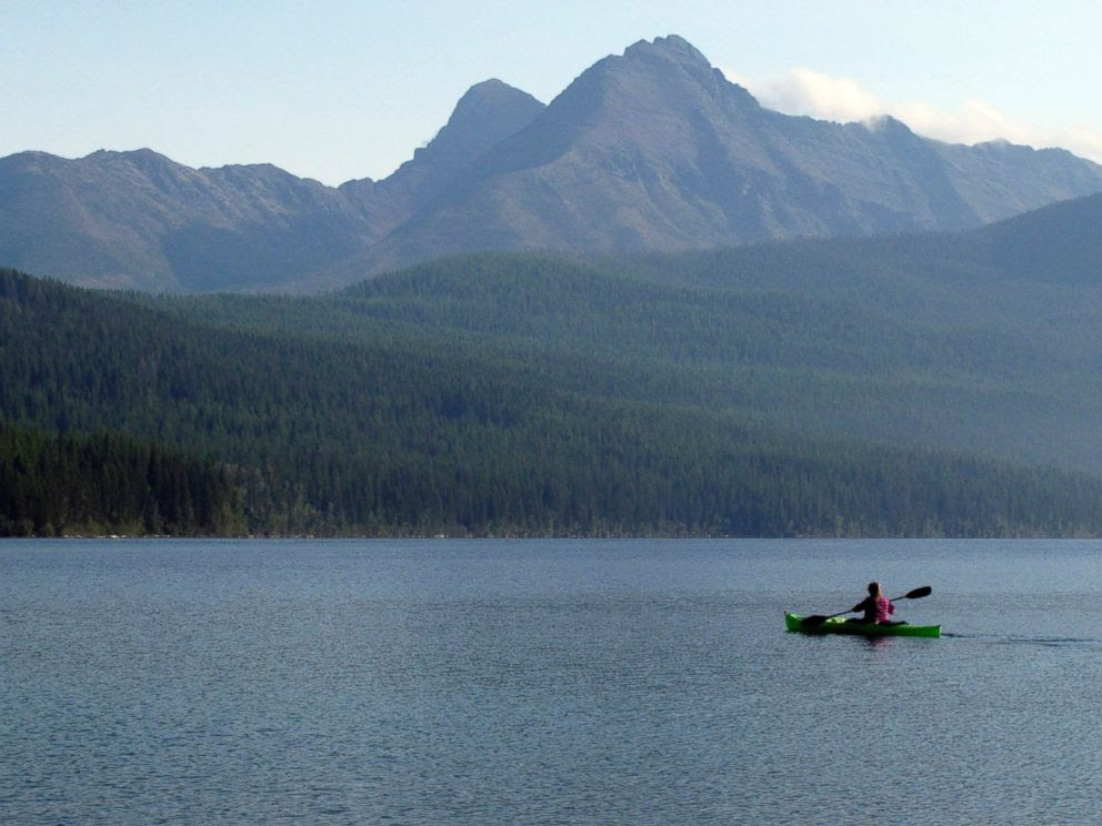 PHOTO: In this Sept. 6, 2013, file photo, a woman kayaks on Kintla Lake in Glacier National Park, Montana.