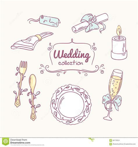 Wedding Table Decoration In Doodle Style. Hand Drawn