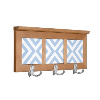 Light Blue and White Chevrons Coat Rack