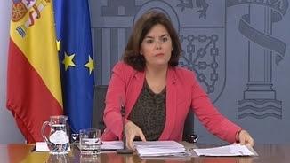 Soraya Sáenz de Santamaría, durant la roda de premsa