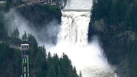 WATCH: Snoqualmie Falls rages with rising flood waters