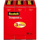 "3M Scotch Transparent Tape Rolls, 0.75"" x 1000"" - 3 pack"