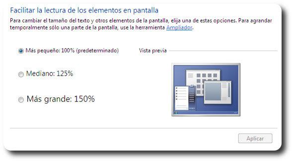 Cómo incrementar el tamaño de las letras en Windows 7