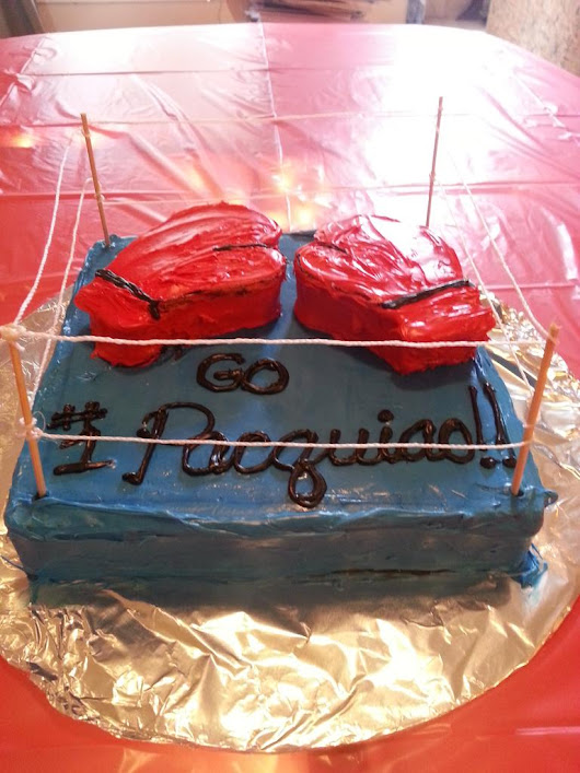 "Denise Galvez on Twitter: ""We are a boxing family so I had to up my cake decorating skills! #PacquiaoMayweather """