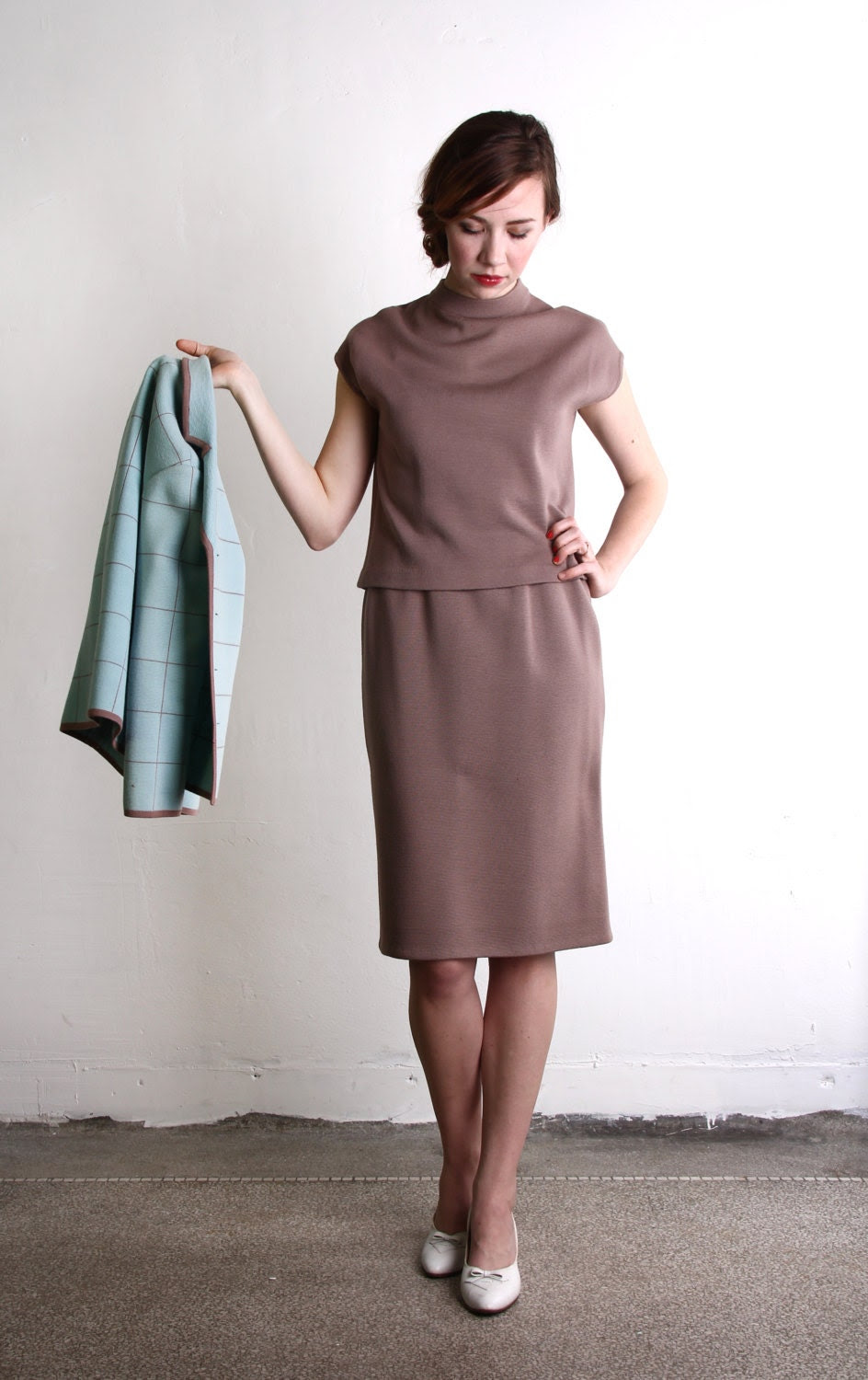 3 Piece Suit . Mint Chocolate Knit Top Jacket, Skirt . Business Attire - VeraVague