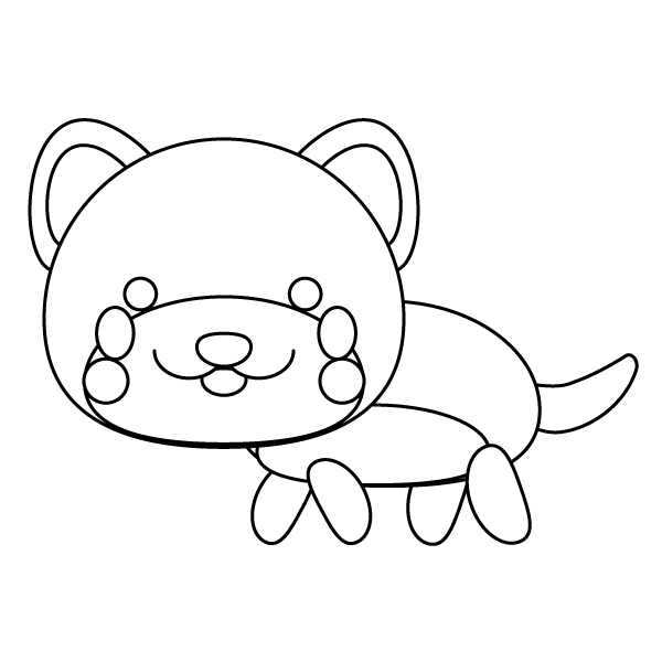 塗り絵に最適な白黒でかわいい秋田犬の無料イラスト商用フリー オイデ43