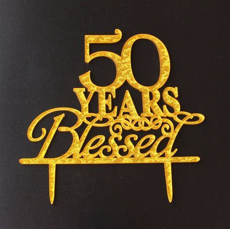 Aliexpress.com : Buy 50 Years Blessed Acrylic Glitter Gold