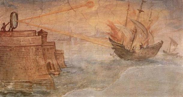 Una representación de cómo Arquímedes incendió los barcos romanos antes de Siracusa con la ayuda de espejos parabólicos.