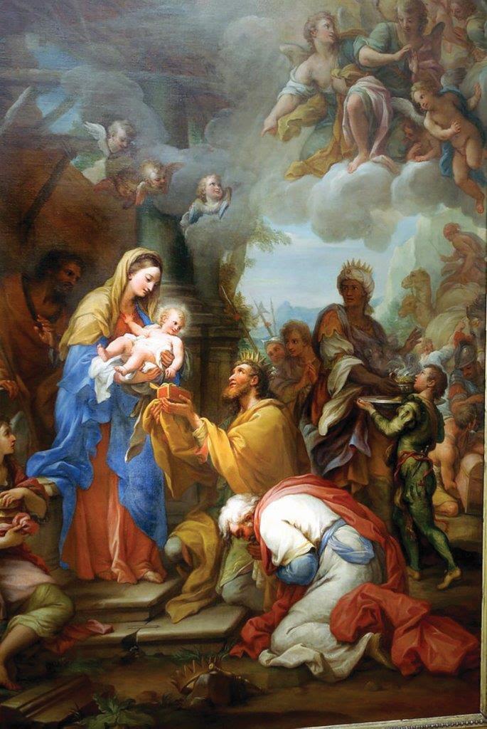 Adoração dos Reis Magos - Giuseppe Chiari, séc. XVIII. Santa Maria del Suffragio, Roma
