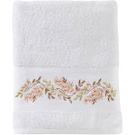 "Saturday Knight Ltd Misty Floral Beautiful Embroidered & Ultra-Plush Bath Towel - 27x50"" White"