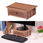 small desk monitor riser stand organizer wood with pen holder drawer for school office home stationery storage