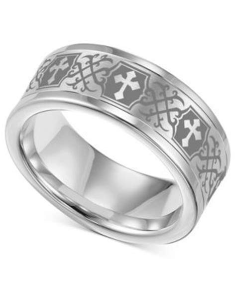Men's Tungsten Carbide Ring, Comfort Fit Etched Cross