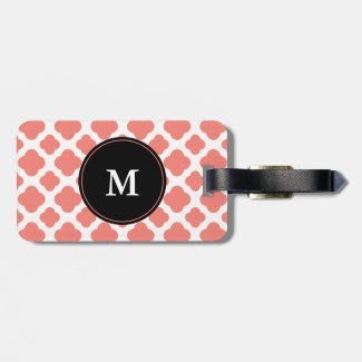 Monogrammed Coral Pink Quatrefoil Pattern Travel Bag Tags