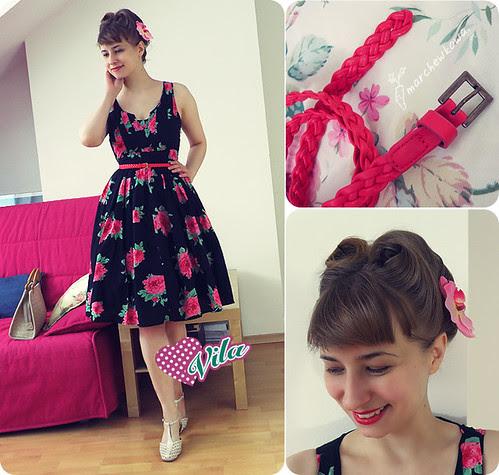 ♥ Vila again, sukienka, retro, vintage, szafiarka, marchewkowa