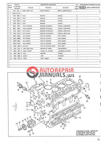 KUBOTA ENGINE V1902 PARTS MANUALS. | Auto Repair Manual