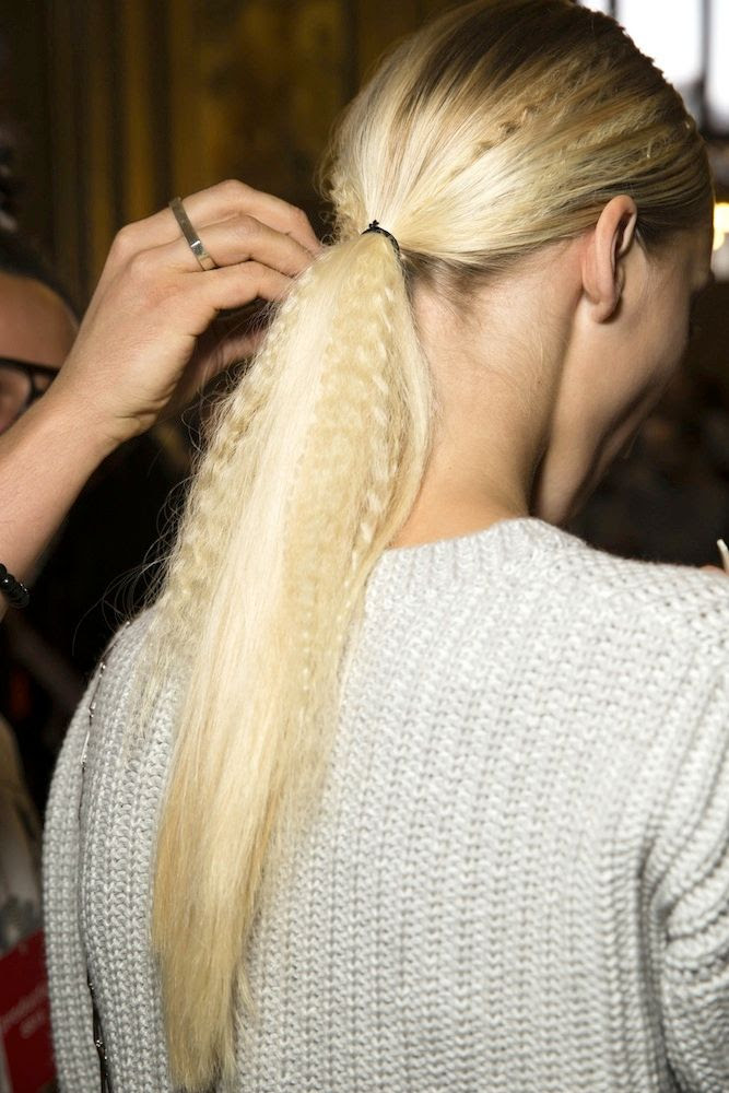 Le Fashion Blog - Hair Inspiration: Crimped Ponytails at Stella McCartney S/S 2015 -- Long Blonde Ponytail Via Vogue UK photo 1-Le-Fashion-Blog-Hair-Inspiration-Crimped-Ponytails-Stella-McCartney-SS-2015-Long-Blonde-Ponytail-Via-Vogue-UK.jpg