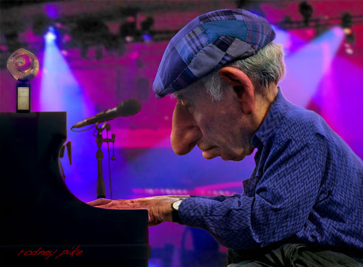 "George Wein ~ ""Jazz Master"" - Rodney Pike Humorous Illustrator"