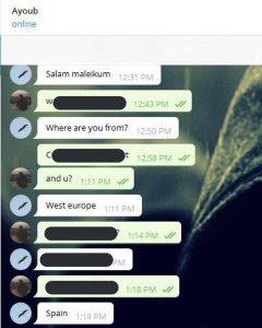 Inicio de la conversación entre espías y Younes Abouyaaqoub.