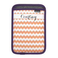 Tangerine Chevron Personalized Ipad Mini iPad Mini Sleeves