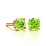 1 1/3 Carat Round Shape Peridot Stud Earrings in 14K Yellow Gold Over Sterling Silver by SuperJeweler