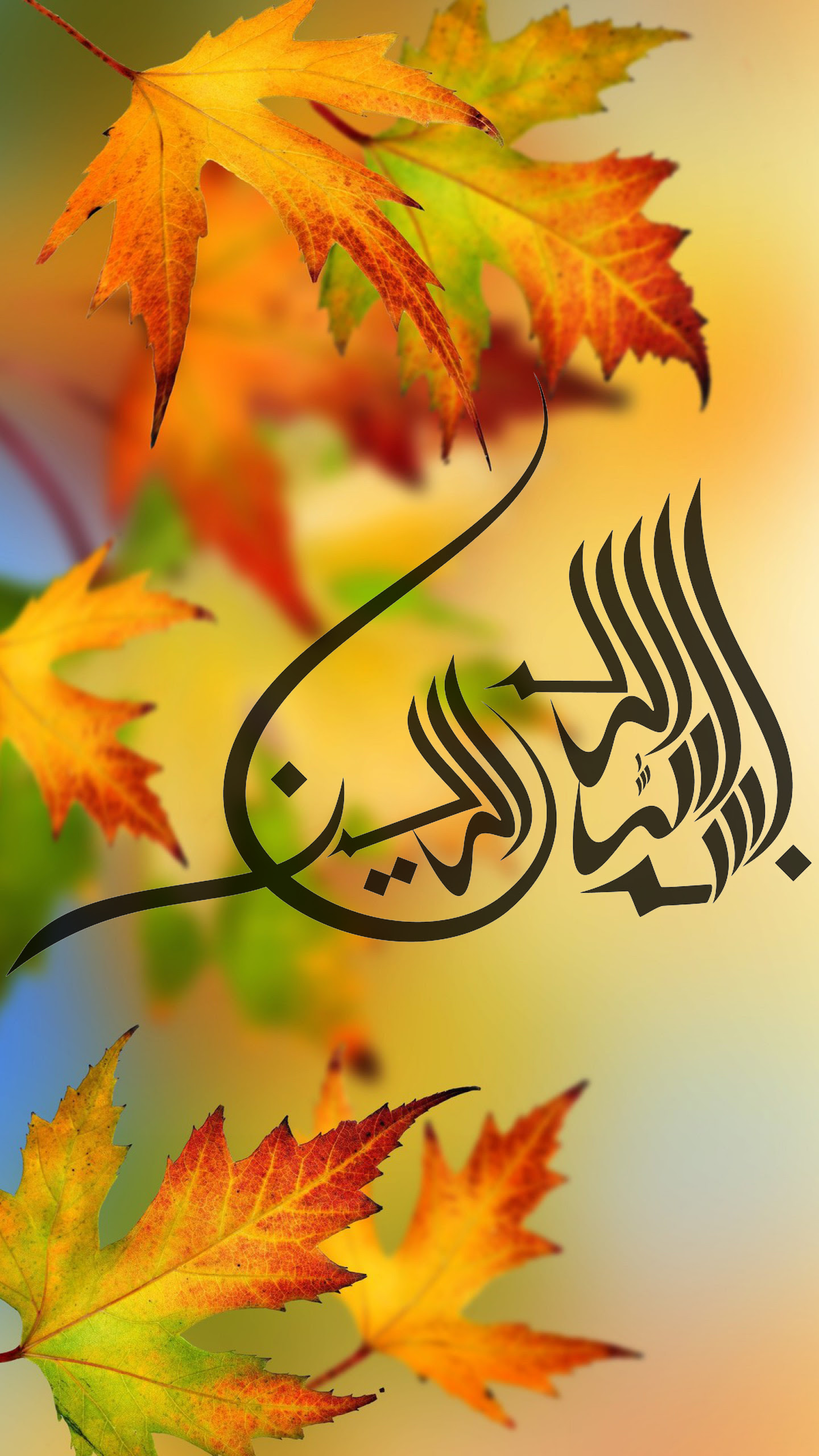 Best Islamic Wallpaper for 5 inch Mobile Phone 2 of 7 - Bismillah in Autumn Background | HD ...