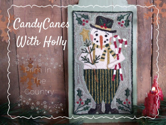 Candy Canes With Holly Punch Needle Pattern by PrimInTheCountry