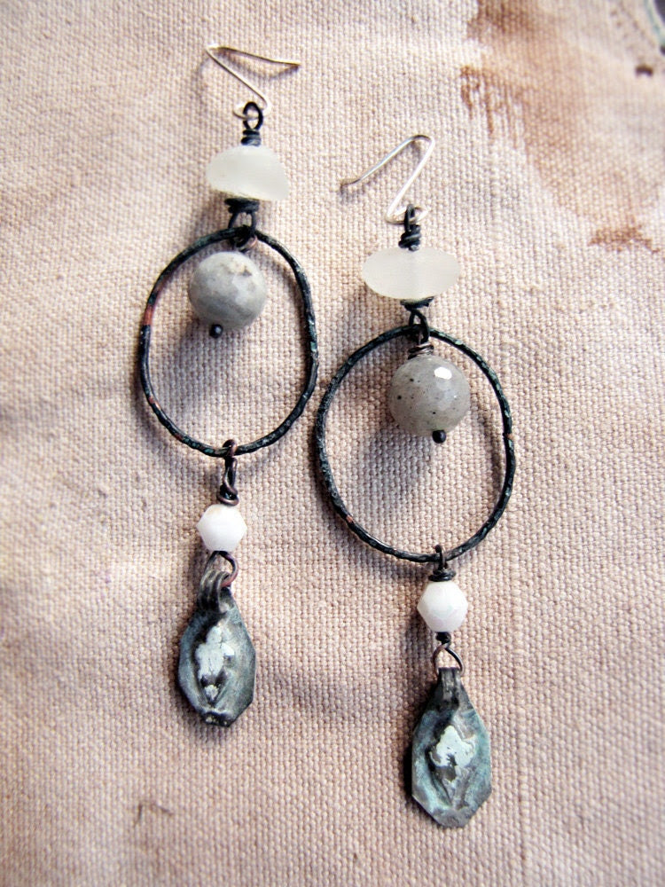Europa - assemblage rustic earrings - artisan hoops - labradorite - kuchi charms