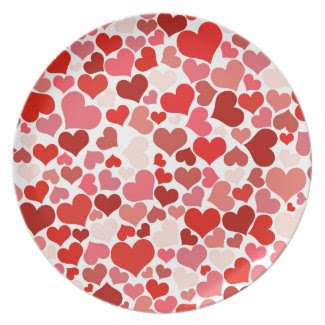 Multicolored Hearts Party Plates