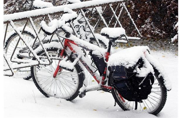 It was a snowy commute for cyclists, October 23.