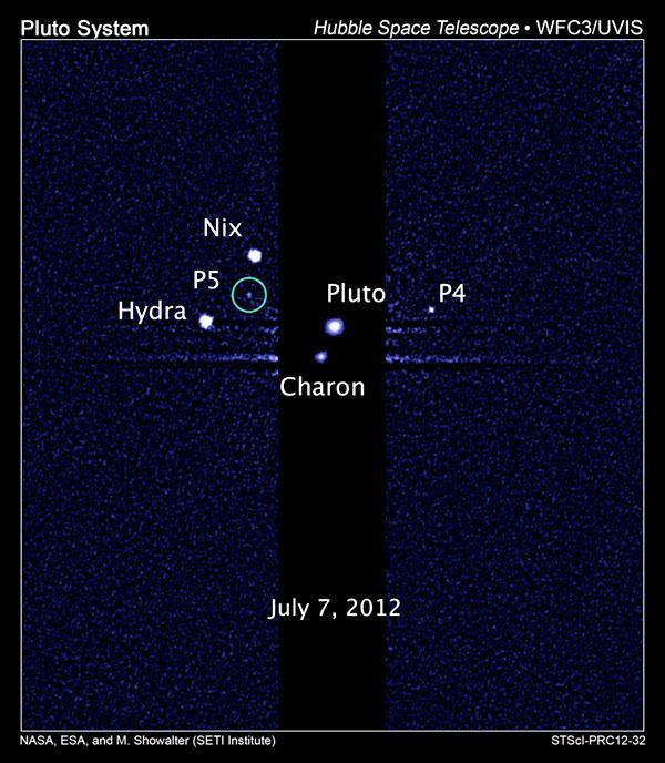 A Hubble Space Telescope image of Pluto and its 5 known moons.