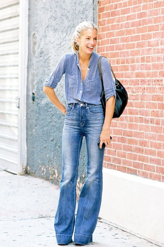 Le Fashion Blog Meredith Melling Street Style Denim On Denim Button Down Chambray Shirt High Waisted Wide Leg Jeans Fall Outfit Idea Via Vanessa Jackson
